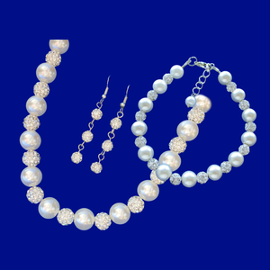 handmade pearl and crystal necklace accompanied by a matching bracelet and a pair of crystal drop earrings