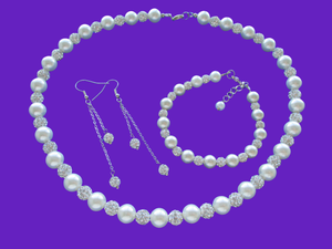 A handmade pearl and crystal necklace accompanied by a matching bracelet and crystal drop earring jewelry set, silver and ivory or silver and custom color