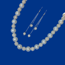 Load image into Gallery viewer, handmade pearl and crystal necklace accompanied by a pair of multi-strand crystal drop earrings