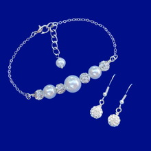 Load image into Gallery viewer, handmade pearl crystal bar bracelet drop earring jewelry set