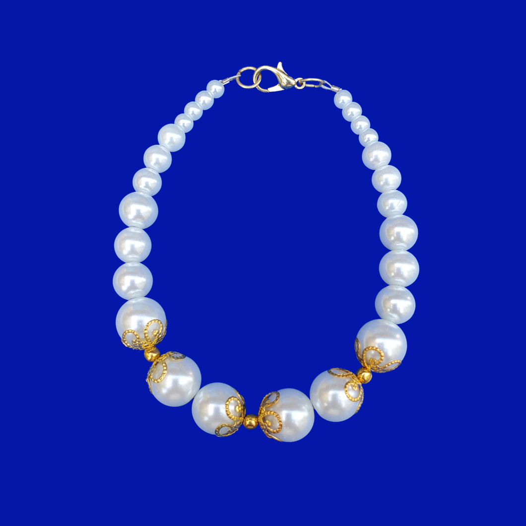 gold accented white pearl bracelet, gold and white