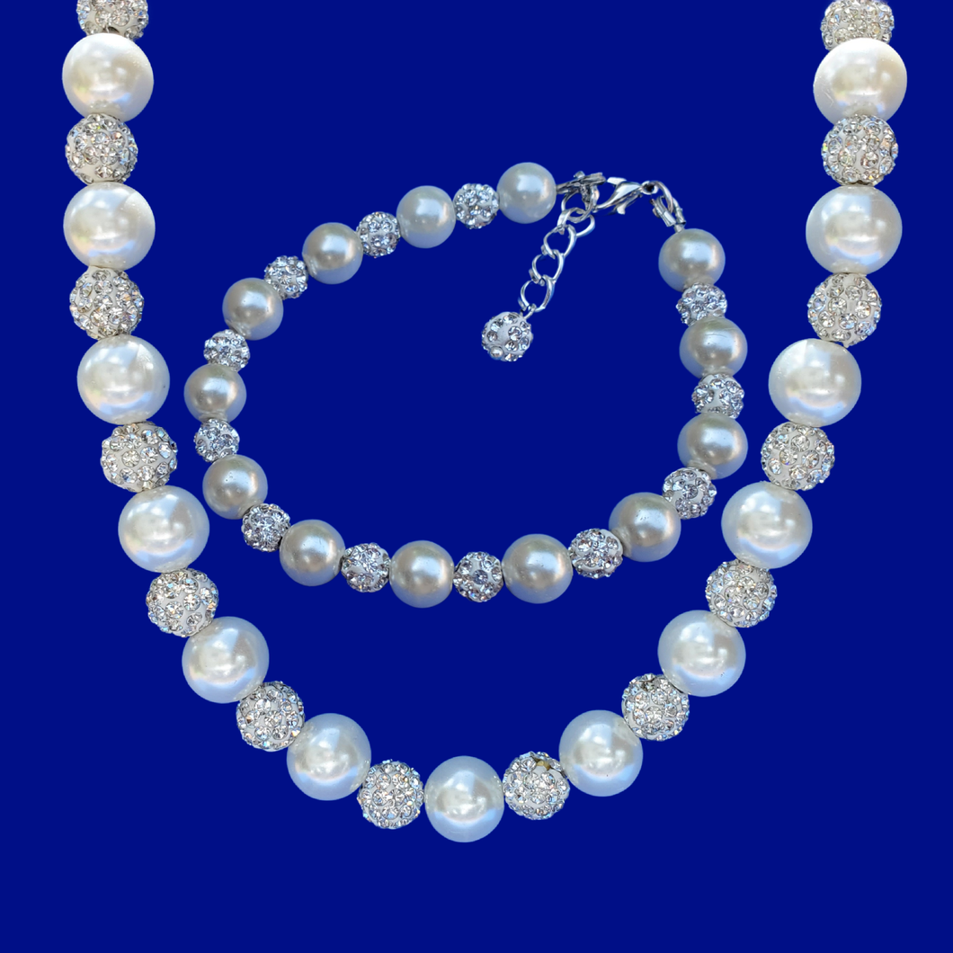 handmade crystal and pearl necklace accompanied by a matching bracelet