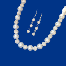 Load image into Gallery viewer, handmade crystal and pearl necklace accompanied by a pair of crystal drop earrings