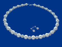 Load image into Gallery viewer, A handmade pearl and crystal necklace accompanied by a pair of crystal stud earrings.