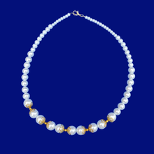 Load image into Gallery viewer, gold accented pearl necklace, white and gold or custom color