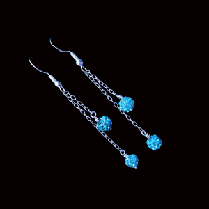 handmade pave crystal multi-strand drop earrings, aquamarine blue or custom color