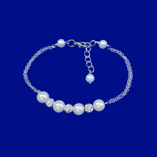 Load image into Gallery viewer, handmade pearl and crystal bar bracelet