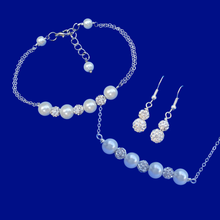 Load image into Gallery viewer, handmade pearl and crystal bar necklace accompanied by a matching bracelet and a pair of crystal drop earrings