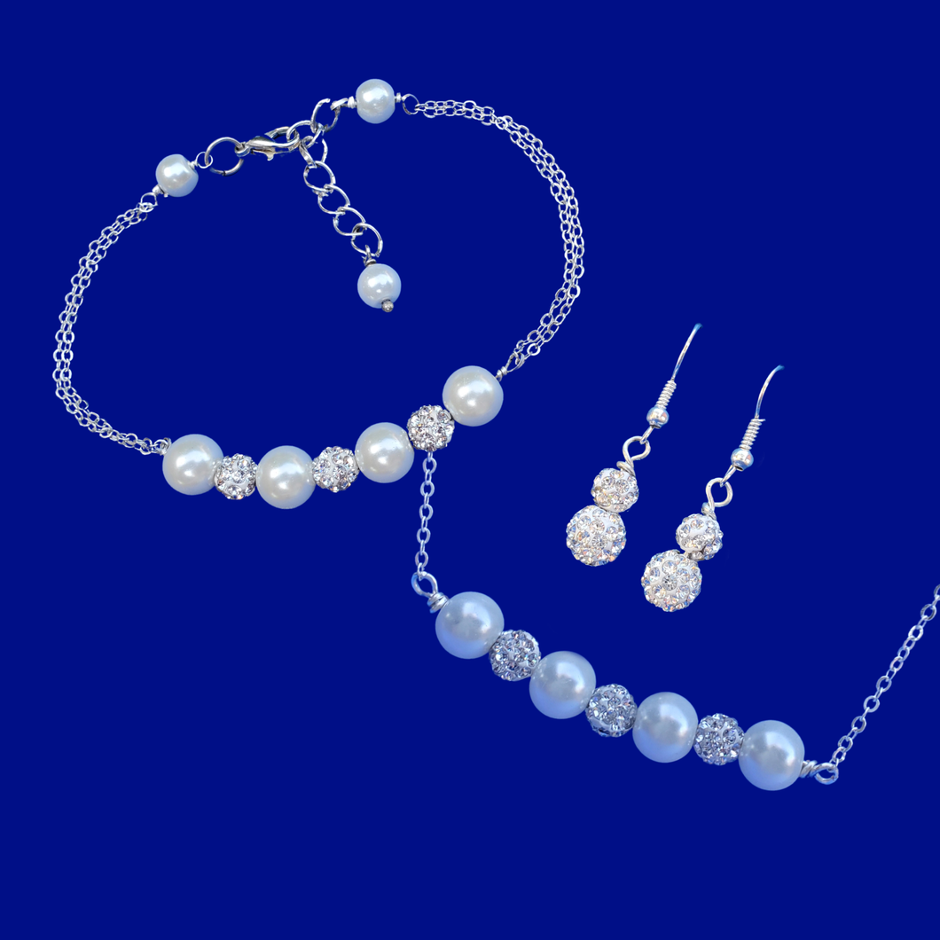 handmade pearl and crystal bar necklace accompanied by a matching bracelet and a pair of crystal drop earrings