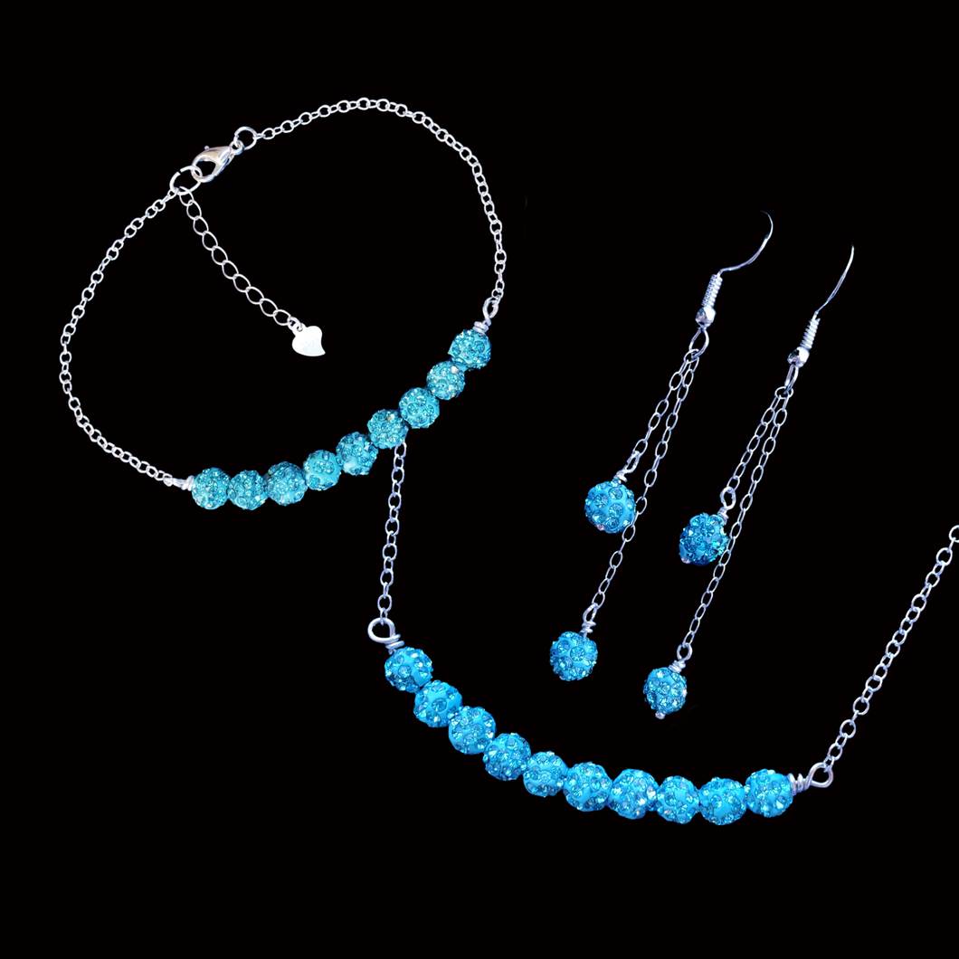 Necklace Set - Wedding Set - Jewelry Sets, handmade crystal bar necklace accompanied by a matching bracelet and a pair of multi-strand drop earrings, aquamarine blue or custom color