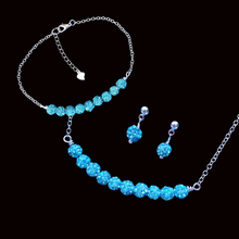 Load image into Gallery viewer, handmade crystal bar necklace accompanied by a matching bracelet and a pair of stud earrings