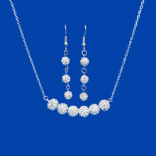 Load image into Gallery viewer, A handmade crystal bar necklace accompanied by a pair of drop earrings.