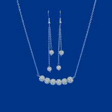 Load image into Gallery viewer, Necklace Set - Wedding Sets - Necklace And Earring Set, handmade crystal bar necklace accompanied by a matching bracelet and a pair of multi-strand drop earrings, silver clear or custom color