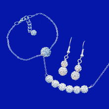 Load image into Gallery viewer, Necklace Set - Wedding Sets - Jewelry Set, handmade bar necklace accompanied by a floating bracelet and a pair of drop earrings, silver clear