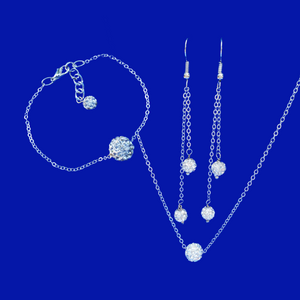 Jewelry Sets - Necklace Set - Bridal Sets, handmade floating crystal necklace accompanied by a matching bracelet and a pair of multi-strand drop earrings, silver clear or custom color