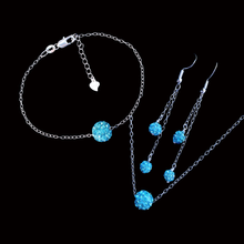 Load image into Gallery viewer, Jewelry Sets - Necklace Set - Bridal Sets, handmade floating crystal necklace accompanied by a matching bracelet and a pair of multi-strand drop earrings, aquamarine blue or custom color