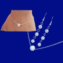 Load image into Gallery viewer, handmade floating crystal necklace accompanied by a matching bracelet and a pair of drop earrings