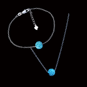 Necklace And Bracelet Set - Necklace Set - Jewelry Set, handmade floating crystal necklace accompanied by a matching bracelet, aquamarine blue or custom color