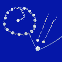 Load image into Gallery viewer, Jewelry Sets - Gifts For Bridesmaids - Bridal Sets - handmade floating necklace accompanied by a bracelet and a pair of drop earrings