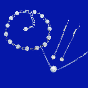 Jewelry Sets - Gifts For Bridesmaids - Bridal Sets - handmade floating necklace accompanied by a bracelet and a pair of drop earrings