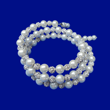 Load image into Gallery viewer, A handmade pearl and crystal expandable multi-layer wrap bracelet