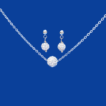 Load image into Gallery viewer, A handmade floating crystal necklace accompanied by a pair of stud earrings.