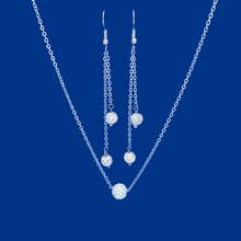 Load image into Gallery viewer, handmade floating crystal necklace accompanied by a bar bracelet and a pair of multi-strand drop earrings, silver clear or custom color