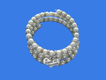 Load image into Gallery viewer, sister of the groom handmade pearl and crystal multi-layer, expandable, wrap charm bracelet