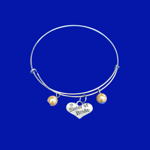 sister of the bride expandable charm pearl bracelet, custom color