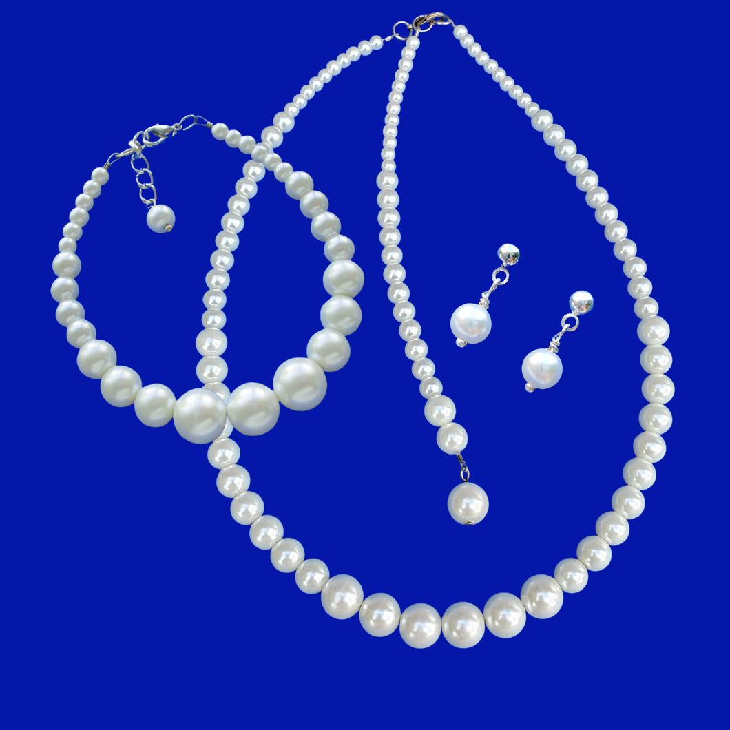 Jewelry Sets - Pearl Jewelry Set - Bridal Sets, handmade pearl necklace accompanied by a matching bracelet and a pair of stud earrings, white or custom color