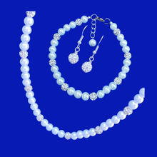 Load image into Gallery viewer, handmade pearl and crystal necklace accompanied by a matching bracelet and a pair of crystal earrings