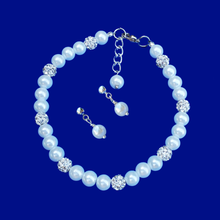 Load image into Gallery viewer, handmade pearl and crystal bracelet accompanied by a pair of pearl stud earrings