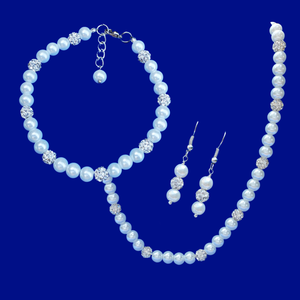 Bridal Sets - Necklace Set - Jewelry Set, handmade pearl and crystal necklace accompanied by a matching bracelet and a pair of drop earrings, white or custom color
