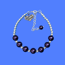 Load image into Gallery viewer, Handmade Silver Accented Sister of the Groom Pearl Charm Bracelet