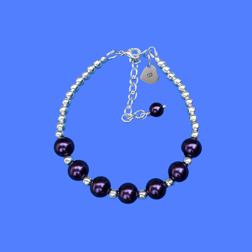 monogram silver accented pearl charm bracelet, dark purple or custom color