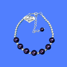 Load image into Gallery viewer, sister of the bride silver accented pearl charm bracelet, dark purple or custom color