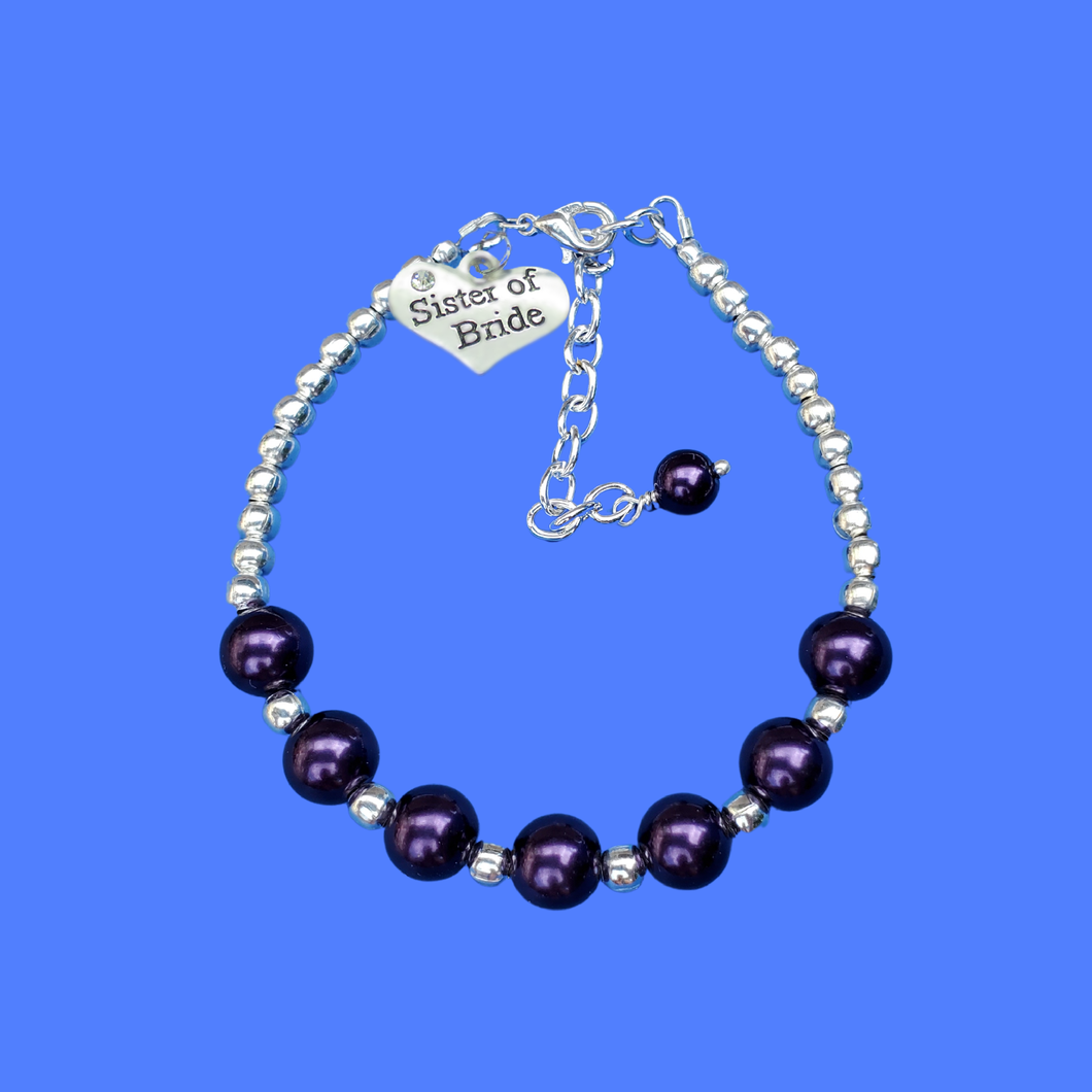 sister of the bride silver accented pearl charm bracelet, dark purple or custom color