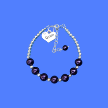 Load image into Gallery viewer, New Gran Gifts - Gran Gift - Gran Present - gran silver accented pearl charm bracelet, dark purple or custom color