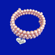 Load image into Gallery viewer, Sister of the Bride Pearl Expandable, Multi-Layer, Wrap Charm Bracelet, powder orange or custom color