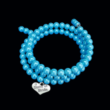 Load image into Gallery viewer, Sister of the Bride Pearl Expandable, Multi-Layer, Wrap Charm Bracelet, aquamarine blue or custom color