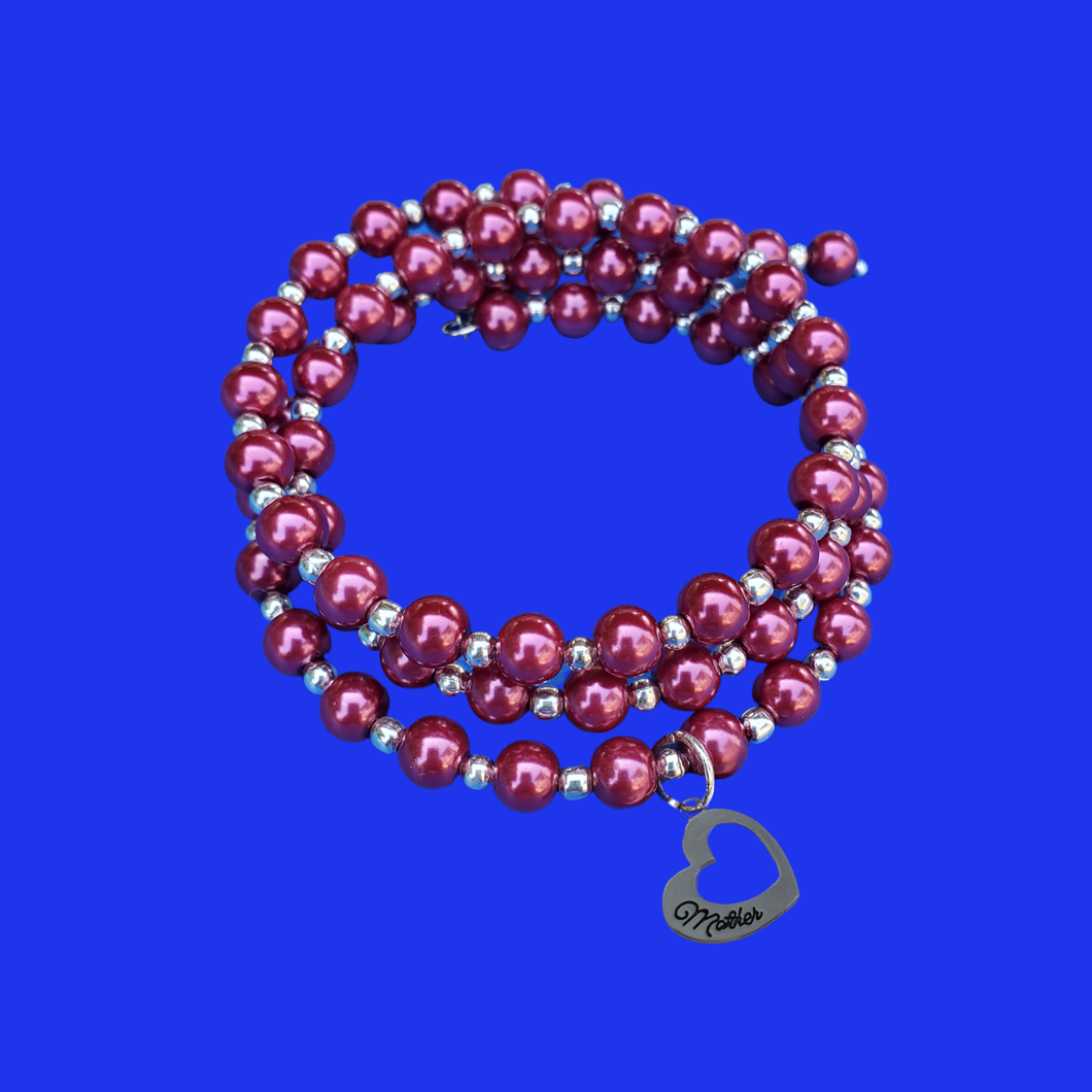 mother silver accented expandable multi layer wrap pearl bracelet, bordeaux red or custom color