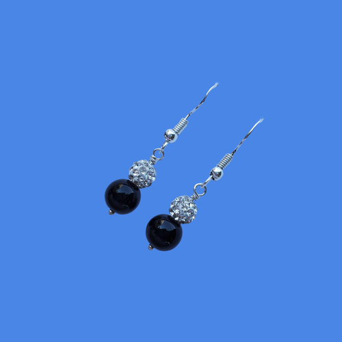 Pearl Earrings - Drop Earrings - Earrings, handmade pair of pearl and crystal drop earrings, black and silver or custom color