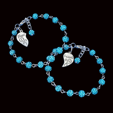 Load image into Gallery viewer, Best Friend Present - BFF Bracelets - Best Friend Gift, set of 2 best friends crystal charm bracelets, aquamarine blue or custom color