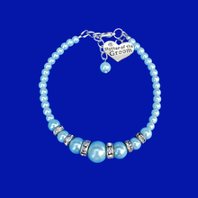 Load image into Gallery viewer, Mother of the Groom Pearl and Crystal Charm Bracelet, light blue or custom color