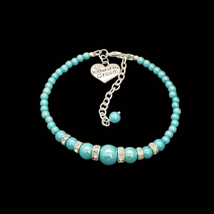 handmade mother of the groom pearl and crystal charm bracelet, aquamarine blue or custom color