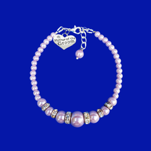 Load image into Gallery viewer, Mother of the Groom Pearl and Crystal Charm Bracelet, lavender purple or custom color