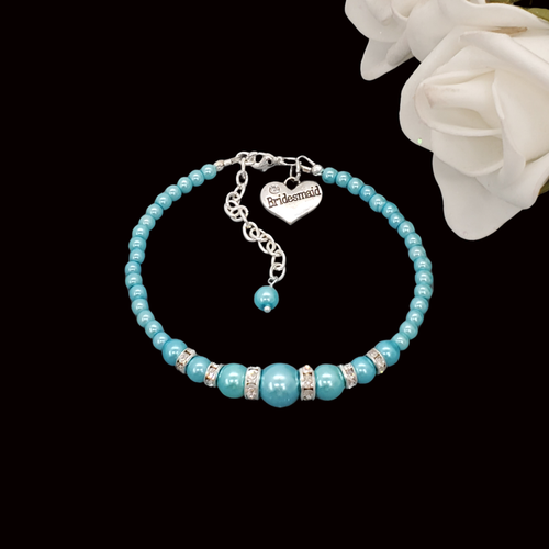 handmade bridesmaid pearl and crystal charm bracelet, aquamarine blue or custom color