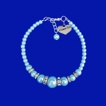 Load image into Gallery viewer, Flower Girl Gift - Best Flower Girl Gifts - handmade flower girl pearl and crystal charm bracelet, light blue or custom color