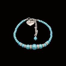 Load image into Gallery viewer, Flower Girl Gift - Best Flower Girl Gifts - handmade flower girl pearl and crystal charm bracelet, aquamarine blue or custom color