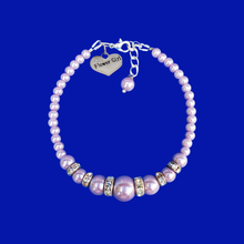 Load image into Gallery viewer, Flower Girl Gift - Best Flower Girl Gifts - handmade flower girl pearl and crystal charm bracelet, lavender purple or custom color